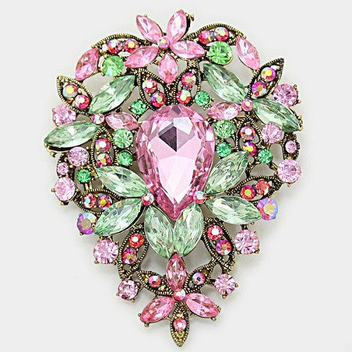 Pink and Green Teardrop Floral Rhinestone Brooch ( 1139 )