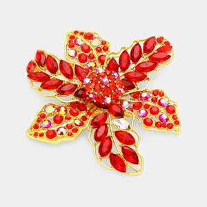 Large Red Rhinestone Flower Brooch in Gold Setting ( 1200 )