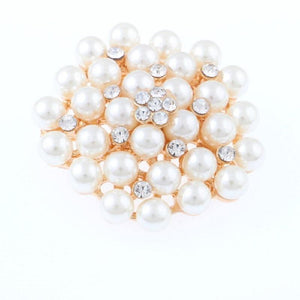 "1 3/4"" Gold and Cream Pearl Beaded Brooch Pin ( 1249 )"