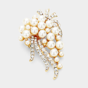 "2.5"" Gold with Cream Pearl and Clear Rhinestone Brooch Pin ( 1253 )"