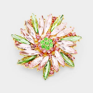 "2"" Pink and Green Brooch Pin on Gold Hardware ( 1256 )"