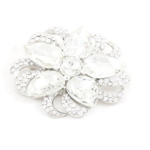"Large 3"" Silver Clear Flower Pin Wheel Brooch Pin ( 1304 )"