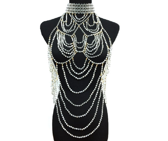 Clear Beaded Halter Layered Full Body Chain with Gold Accents ( 6027 )