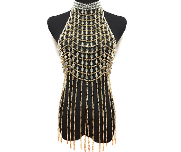 Clear Beaded and Gold Chain Layered Full Body Chain with Gold Accents ( 6028 )