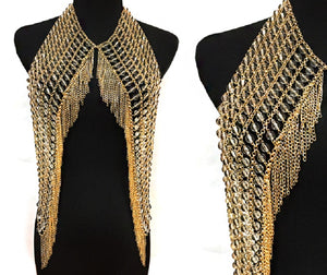 Clear Beaded and Gold Statement Body Chain Body Jewelry ( 6029 )