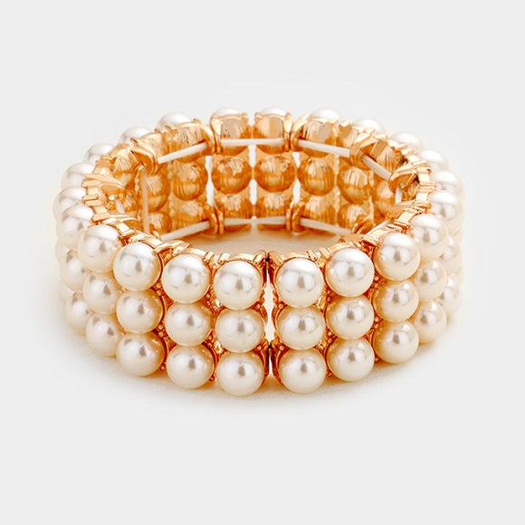 Light Peach Glass Pearl 3 Row Rose Gold Stretch Bracelet ( 4009 )