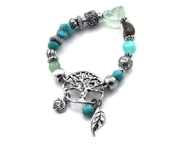 Turquoise and Silver Beaded Stretch Bracelet with Wishing Tree Charm ( 5076 )