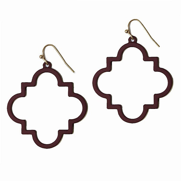 Burgundy Unique Design Dangling Earrings ( 2101 )