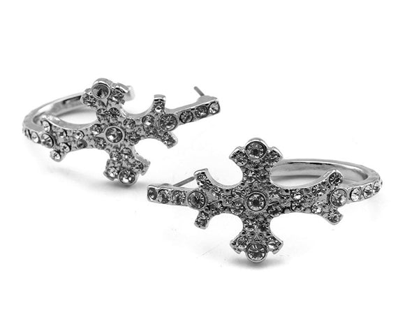 SILVER CROSS EARRINGS WITH CLEAR STONES ( 2549 )