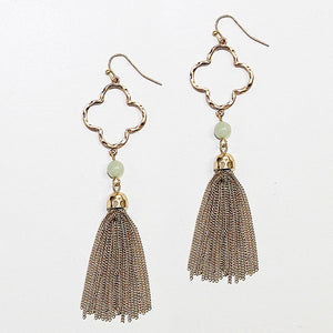 Gold Clover Shape Tassel Earrings with Amazonite Stones