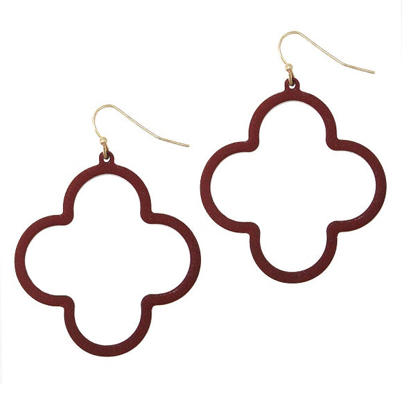 Burgundy Clover Design Dangling Earrings ( 334 )