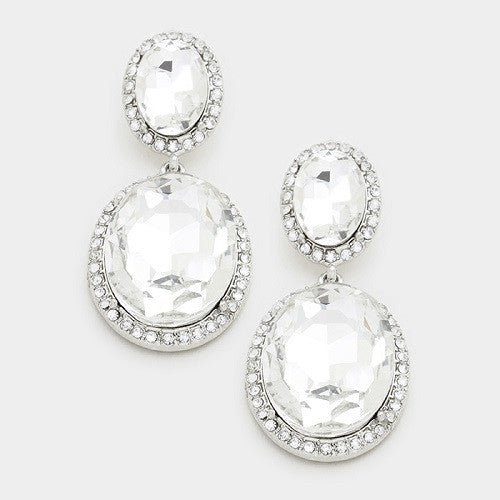 Double Oval Silver and Clear Stone Earrings