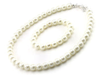 Children's Cream Pearl Beaded Necklace and Bracelet With Matching Earrings Set ( 6201 )