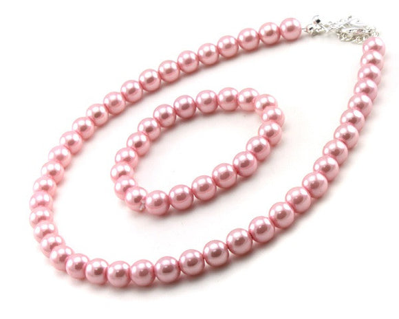 Children's Pink Pearl Beaded Necklace and Bracelet With Matching Earrings Set ( 6202 )