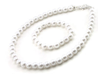 Children's White Pearl Beaded Necklace and Bracelet With Matching Earrings Set ( 6200 )