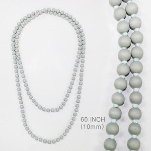 Long Light Gray Wooden Beaded Necklace