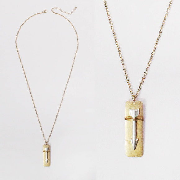 Long Worn Gold Necklace with Two Tone Arrow Pendant ( 1317 )
