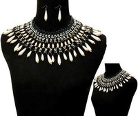 Green, Black and Cream Pearl Beaded Bib Statement Necklace Set ( 10549 )