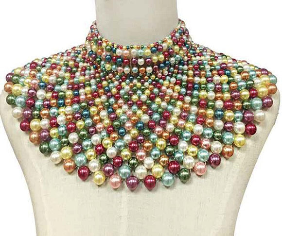 Light Multi Color Statement Pearl Collar Necklace with Earrings