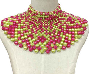 Pink and Green Statement Pearl Collar Necklace with Earrings