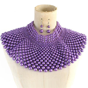 Purple Statement Pearl Collar Necklace with Earrings on Silver Hardware ( 10550 )