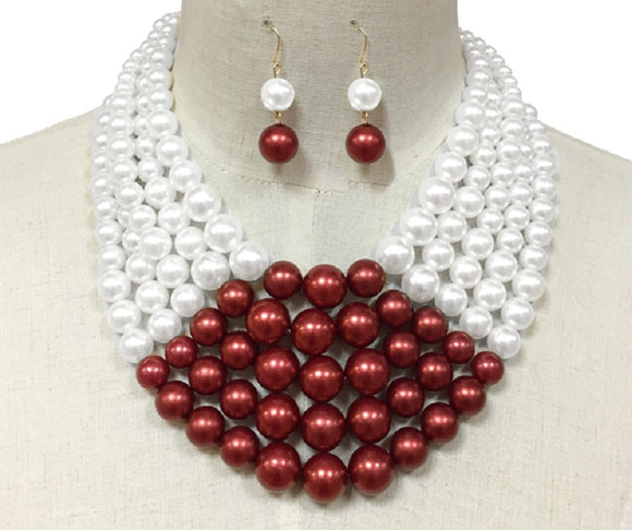 Red and White 5 Layer Pearl Necklace Set with Gold Hardware ( 105521 )