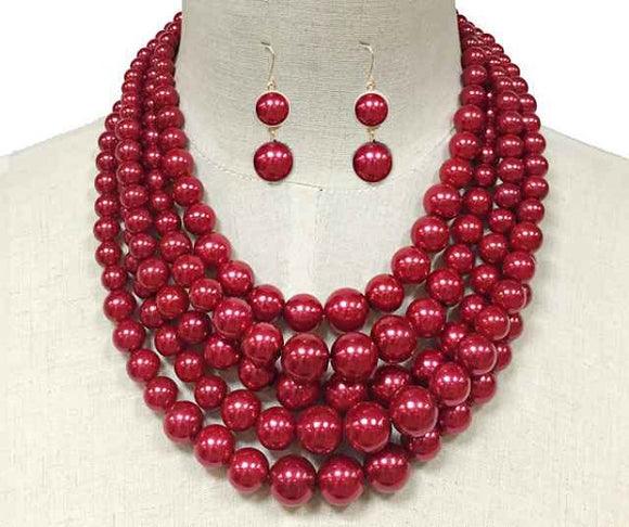 Red 5 Layer Pearl Beaded Necklace ( 10551 )