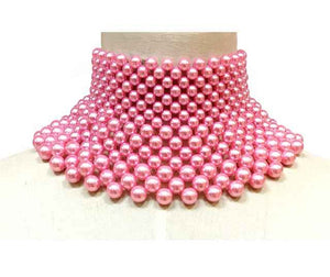 Pink Pearl Bib Necklace ( 10599 )