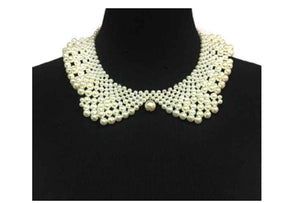Cream Pearl Collar Bib Necklace ( 10603 )