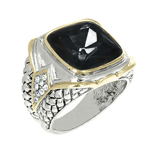 SILVER GOLD RING BLACK STONE SIZE 9 ( 3197 )