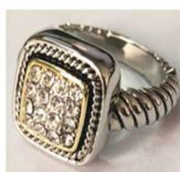 SILVER GOLD RING CLEAR STONES SIZE 7 ( 3206 )