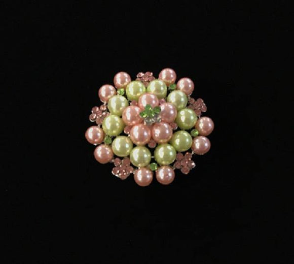 PINK GREEN PEARLS STONES BROOCH ( 06690 )