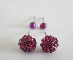 2 Fuchsia Pink Ball Stud Earrings ( 05699 )