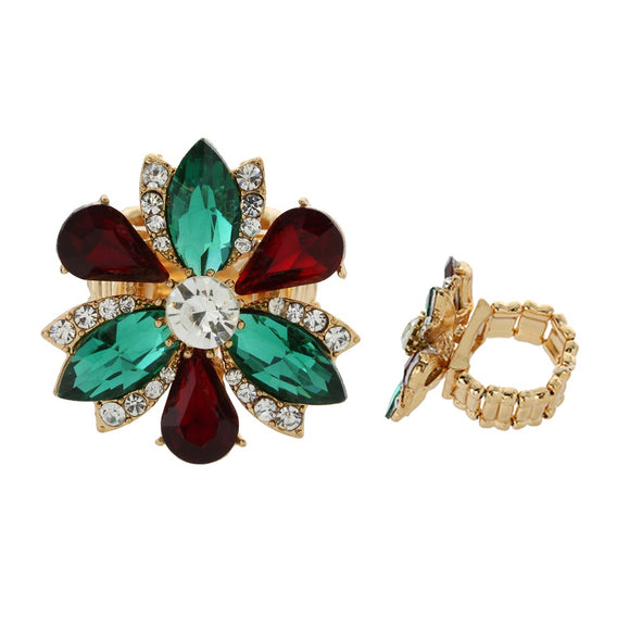 GOLD FLOWER RING WITH GREEN RED CLEAR STONES ( 029 )