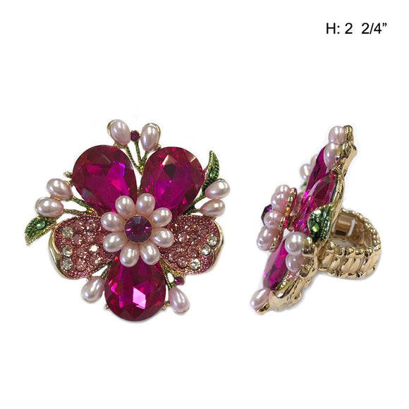 Gold Stretch Ring with Fuchsia Pink Flower Stone and Pearls ( 040 )