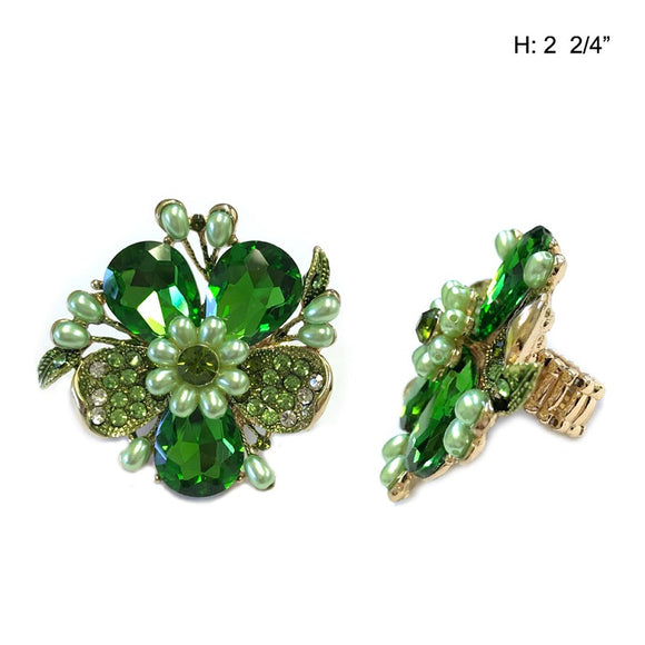 Gold Stretch Ring with Green Flower Stone and Pearls ( 040 )