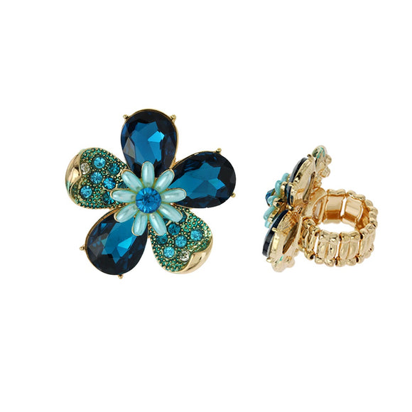BLUE GOLD STRETCH FLOWER RING ( 041 )