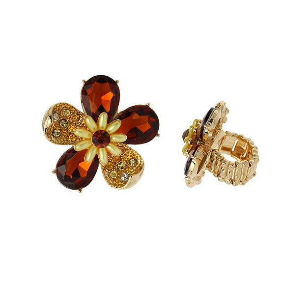 BROWN GOLD STRETCH FLOWER RING ( 041 )