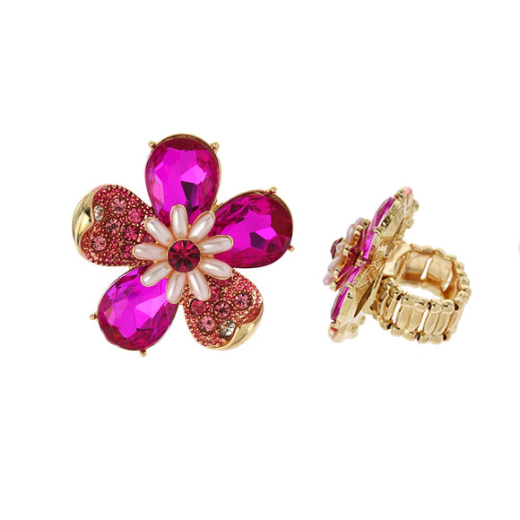 FUCHSIA GOLD STRETCH FLOWER RING ( 041 )