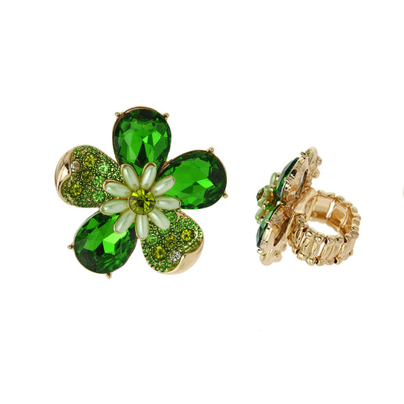 GREEN GOLD STRETCH FLOWER RING ( 041 )