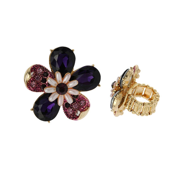 PURPLE GOLD STRETCH FLOWER RING ( 041 )