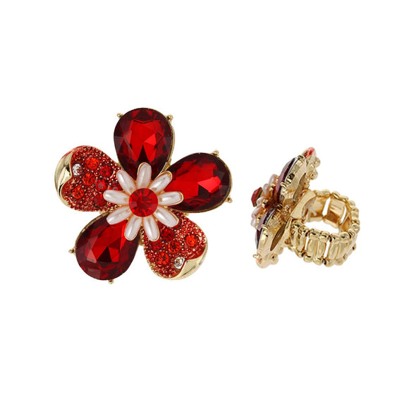 RED GOLD STRETCH FLOWER RING ( 041 )