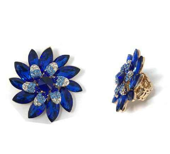 Large Pin Wheel Flower Design Royal Blue Rhinestone Stretch Ring in Gold Setting ( 031 )