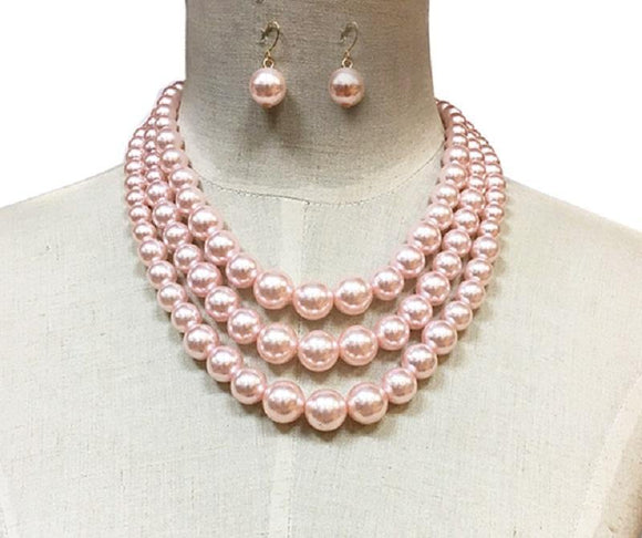 PINK COLORED PEARL NECKLACE WITH MATCHING EARRINGS ( 30782 )