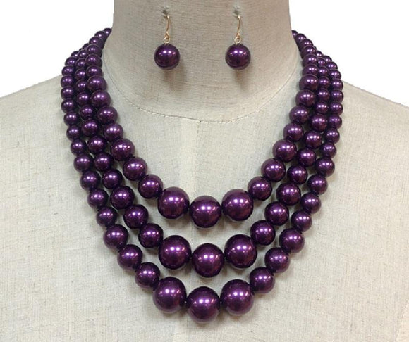 PURPLE COLORED PEARL NECKLACE WITH MATCHING EARRINGS ( 30782 )