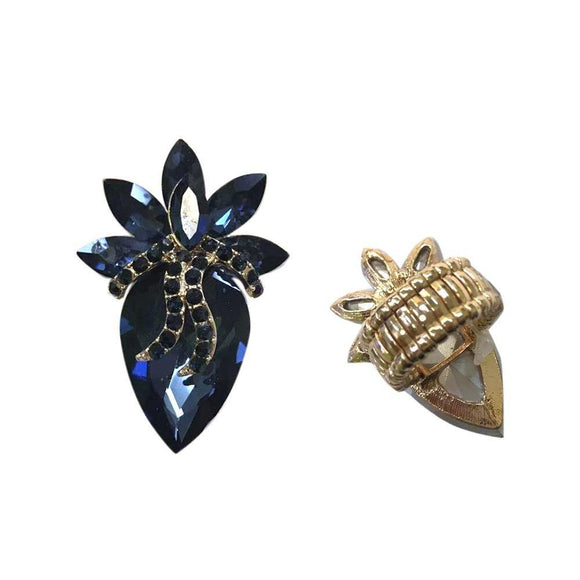 GOLD STRETCH RING NAVY BLUE STONES ( 135 )