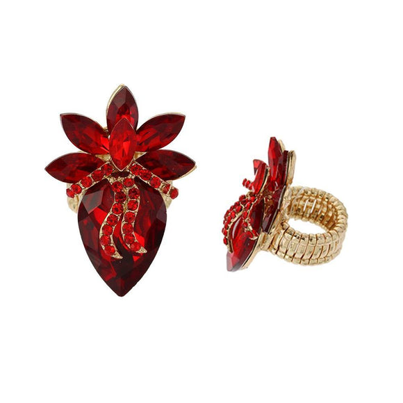 GOLD STRETCH RING RED STONES ( 135 )