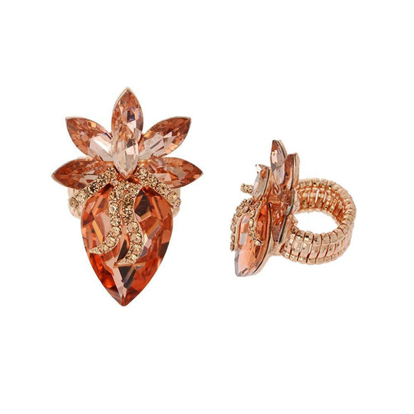 ROSE GOLD STRETCH RING PEACH STONES ( 135 )