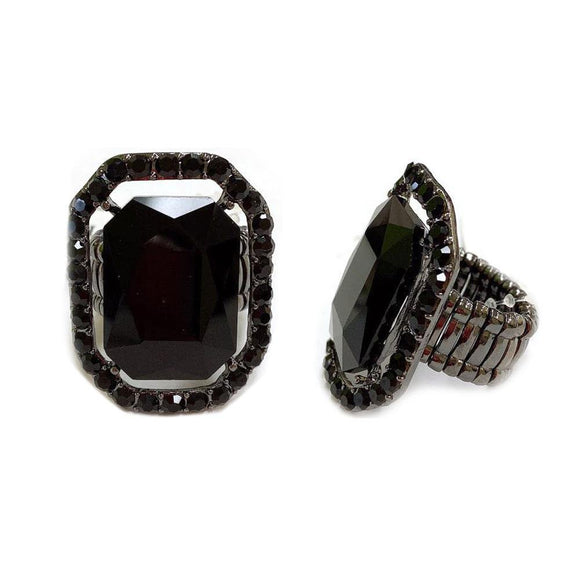 SILVER STRETCH RING BLACK STONES ( 168 )