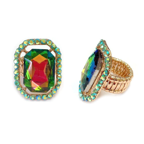 GOLD STRETCH RING GREEN AB STONES ( 168 )
